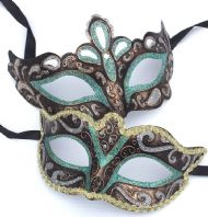 Green His and Hers Masquerade Masks